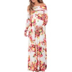 Mother Bee Maternity Women's Maxi Dresses Floral - Off-White Floral Maternity Off-Shoulder Maxi Dress found on Bargain Bro Philippines from zulily.com for $19.99