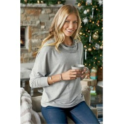 Women's Live Soft Cowl Pullover Top by Soft Surroundings, in Heather Grey size XS (2-4)
