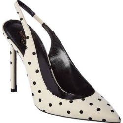 Saint Laurent Slingback Pump (9186 - 39.5), Women's(leather, polka dot) found on Bargain Bro from Overstock for USD $493.23