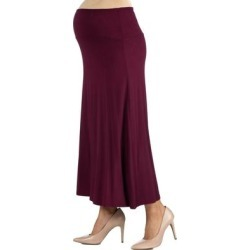 Womens Elastic Waist Solid Color Maternity Maxi Skirt found on Bargain Bro Philippines from Overstock for $18.71