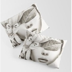 King Size Pillow Sham | Portrait /woman With Flower And Butterflies by Dada22 - STANDARD SET OF 2 - Cotton - Society6 found on Bargain Bro from Society6 for USD $30.39