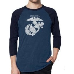 Los Angeles Pop Art Men's Raglan Baseball Word Art T-shirt - LYRICS TO THE MARINES HYMN (denim / navy - m), Blue found on Bargain Bro India from Overstock for $23.84