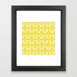 Framed Art Print | Mid Century Flower Pattern Yellow by Tony Magner - Vector Black - X-Small-10x12 - Society6 found on Bargain Bro India from Society6 for $38.39