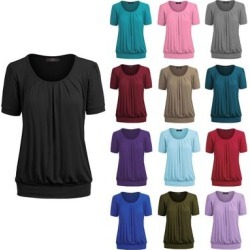petite Women's Scoop Neck Short Sleeve Front Pleated Blouse (XL - LILAC), Purple(rayon, Solid) found on Bargain Bro Philippines from Overstock for $18.99