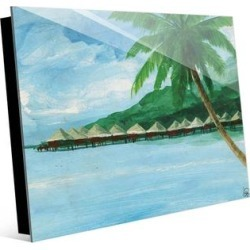 Kathy Ireland Kaewmanee Tropical Overwater Bungalos on Acrylic Wall Art Print found on Bargain Bro Philippines from Overstock for $96.95