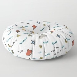 Floor Pillow | Adventure Pattern | Camping Pattern | Hiking Pattern | Hand Drawn Outdoors Pattern by Sara Pimental - ROUND - 30