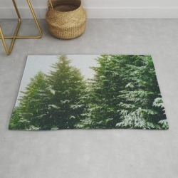 Modern Throw Rug | Winter Pine Tree Forest (color) by Nocolordesigns - 2' x 3' - Society6 found on Bargain Bro India from Society6 for $34.30