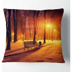 Designart 'Benches Covered in Winter Snow' Landscape Printed Throw Pillow (Square - 18 in. x 18 in. - Medium), Multicolor, DESIGN ART(Polyester, found on Bargain Bro from Overstock for USD $28.87