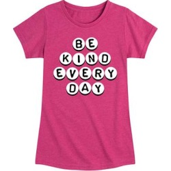 Instant Message Girls' Tee Shirts HEATHER - Heather Fuchsia 'Be Kind' Letter Beads Short-Sleeve Tee - Toddler & Girls found on Bargain Bro from zulily.com for USD $9.11