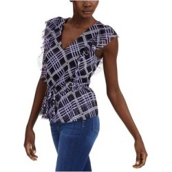 INC Womens Black Tartan Plaid Sleeveless V Neck Top Size L (Black - L), Women's(Polyester, Solid) found on Bargain Bro India from Overstock for $14.98