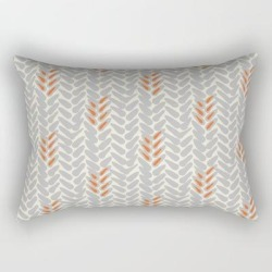 Rectangular Pillow | Orange And Grey Wheat Pattern by Kate + Co. - Small (17