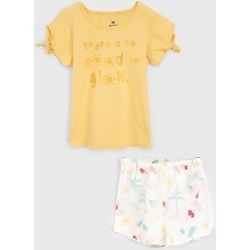 Conjunto 2pçs Hering Kids Curto Infantil Lettering Amarelo/Branco found on Bargain Bro Philippines from Tricae for $31.85