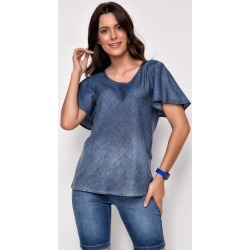 Blusa Jeans Express Manga Curta Milla Manga Morcego Azul found on Bargain Bro Philippines from Tricae for $41.61