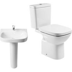 Roca Debba Close Coupled Toilet Pan, Close Coupled Cistern, Standard Seat, 1 Tap Hole Basin & Full Pedestal Pack - 382800 found on Bargain Bro UK from City Plumbing