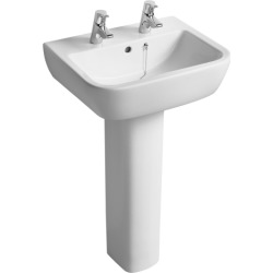 Ideal Standard Tempo 55cm washbasin, 2 tapholes White T058701 - 444744 found on Bargain Bro UK from City Plumbing