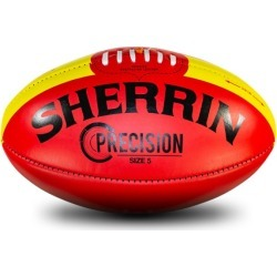 Sherrin Precision Leather Football - Size 5 - Red/Yellow