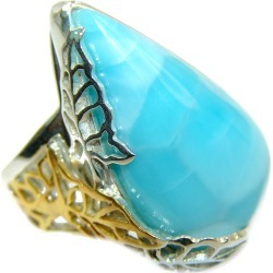 Vintage Design Natural Larimar two tones .925 Sterling Silver handcrafted  Ring s. 8 adjustable