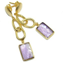 Perfect Gift Lilac Quartz Gold Over Sterling Silver Earrings found on Bargain Bro Philippines from silverrushstyle.com for $65.35