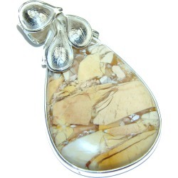 LARGE Fossilized Bracciated Wood .925 Sterling Silver handcrafted pendant found on Bargain Bro India from silverrushstyle.com for $142.50