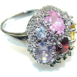 Marry Happy!! Multigem Sterling Silver Ring s  5 3/4