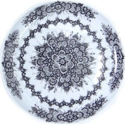 SilverrushStyle  Opole Porcelain Dessert Plate - Black Flower Collection