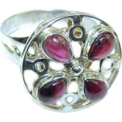 Energizing  genuine Garnet  .925 Sterling Silver handcrafted  Ring size  7