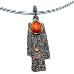 genuine Garnet  .925  Sterling Silver handmade Necklace
