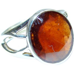 Genuine   Garnet .925 Sterling Silver handmade Ring size 8 adjustable