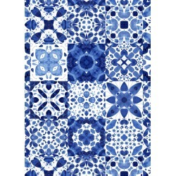 of geometric indigo tiles