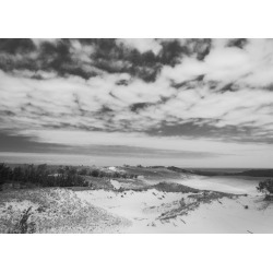 Black and white landscape photograph of sand dunes in simulated infrar found on Bargain Bro India from displate for $52.00
