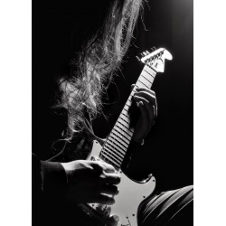 Long hair man playing guitar, anonymous guitarist person silhouette wi found on Bargain Bro India from displate for $54.00