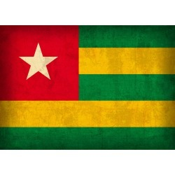 Togo Country Flag on Distressed Canvas