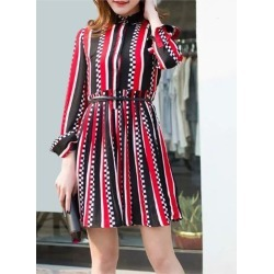 Casual Shirt Collar Long Sleeve Striped Pleated Women's Dress found on MODAPINS from Zilingo AU for USD $29.92