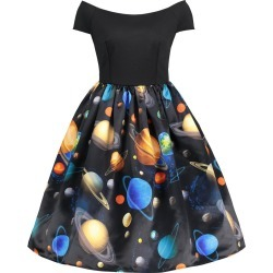 Short Sleeve Planet Print A Line Dress found on MODAPINS from Zilingo AU for USD $28.74