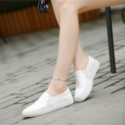 Autumn Women Casual Flat White Shoes Genuine Leather Shoes Loafers found on Bargain Bro India from Zilingo AU for $32.74