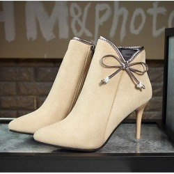 Women Europe Short Tube Zipper Bowknot Stilettos Martin High Thin Heels Casual Boots found on MODAPINS from Zilingo AU for USD $44.58