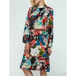 Long Sleeve Flower Print A Line Dress found on MODAPINS from Zilingo AU for USD $29.95