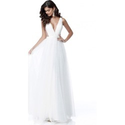 Women V-neck Maxi Long Sleeveless Gowns Party Wedding White Formal Dress found on MODAPINS from Zilingo AU for USD $23.53