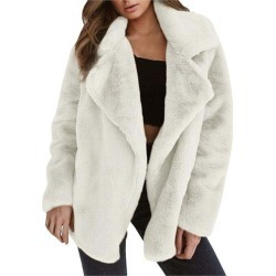 Furry Coat Faux Fur Coat Elegant Thick Warm Outerwear Fake Fur Solid Color Long Sleeve Jacket Turn-down Collar Coat found on MODAPINS from Zilingo AU for USD $23.01