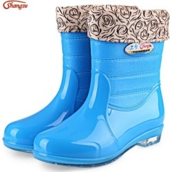 Shangsu Casual Solid Color Warm Skid Resistance Ladies Rain Boots found on MODAPINS from Zilingo AU for USD $21.43