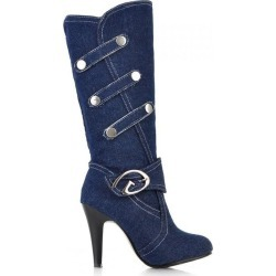 New Women Knee High Boots Buckle High Heel Boots Stilettos Fashion Denim Jeans Women Shoes found on MODAPINS from Zilingo AU for USD $35.69