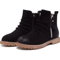 Women Autumn Winter Leather Flat Boots found on MODAPINS from Zilingo AU for USD $43.96
