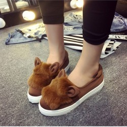 Women Flat Heel Lazy Soft Leather Cartoon Rabbit Ears Elastic Cloth Flat Shoes found on Bargain Bro India from Zilingo AU for $32.74