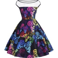 Vintage Butterfly Print A Line Dress Multi found on MODAPINS from Zilingo AU for USD $29.30