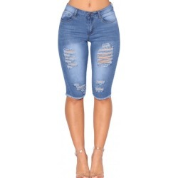 Medium Blue Wash Denim Destroyed Bermuda Shorts found on MODAPINS from Zilingo AU for USD $41.27