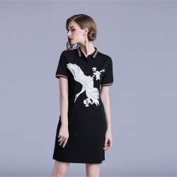 Dresses Casual Crane Embroidered Polo Collar T-shirt Dress found on MODAPINS from Zilingo AU for USD $42.85