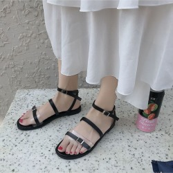 Roman Sandals Female Summer Shoes Hong Kong Flat Bottom Students Simple Wild Ladies Sandals
