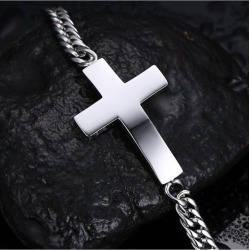 European And American Fashion Hipster Simple Men's Curved Cross Titanium Steel Christian...