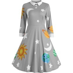 Flare Vintage Sun And Moon Print Dress found on MODAPINS from Zilingo AU for USD $28.46