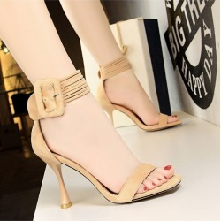 Women's Shoes Wine Glasses With High-heeled Suede Belt Word With Open-toe Sandals